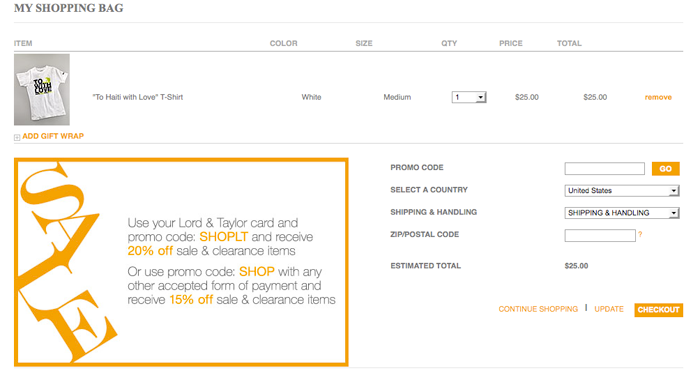 Lord and Taylor Checkout page