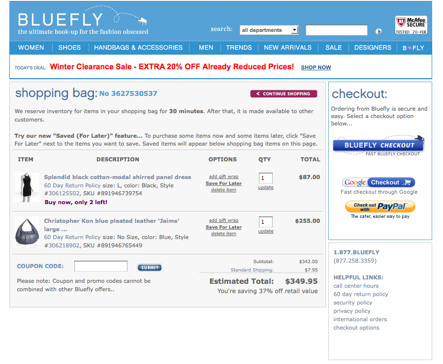 Bluefly Checkout Page