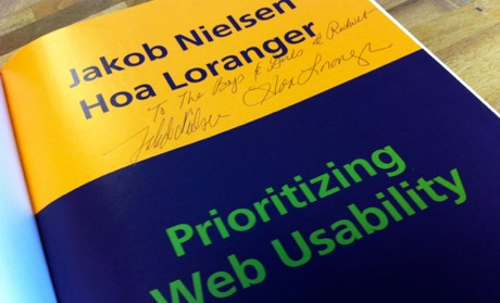 My signed copy of Prioritizing Web Usability