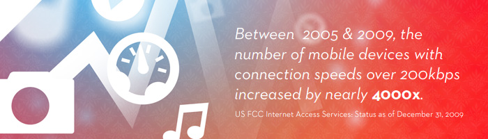 Between  2005 & 2009, the number of mobile devices with connection speeds over 200kbps increased b