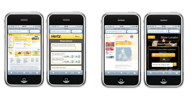 Desktop and mobile versions of Hertz reservation form and Burger King store locator form