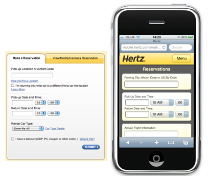 Hertz simplifies its booking form by removing secondary elements such as tips and helps