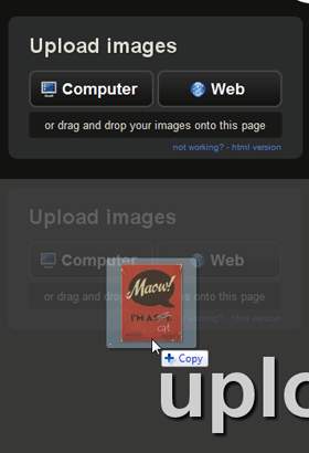 imgur allows users to upload files by dragging a photo directly from the desktop into the web browser.