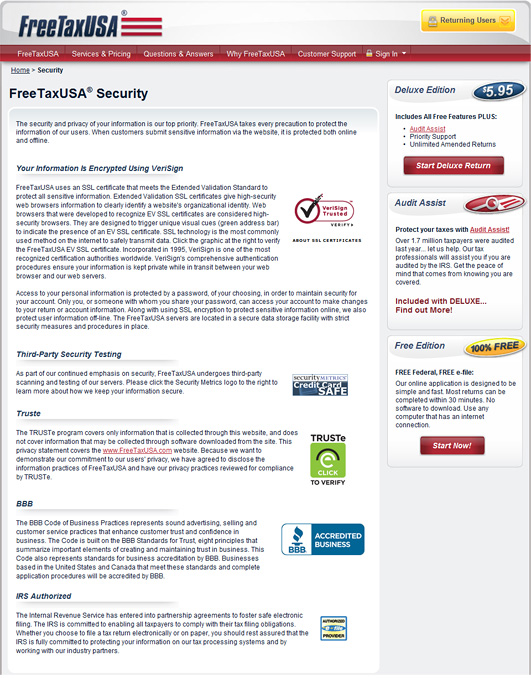 On the FreeTaxUSA site, security seals are displayed persistently on the footer, and users can read the descriptions by clicking on any one of the seals.