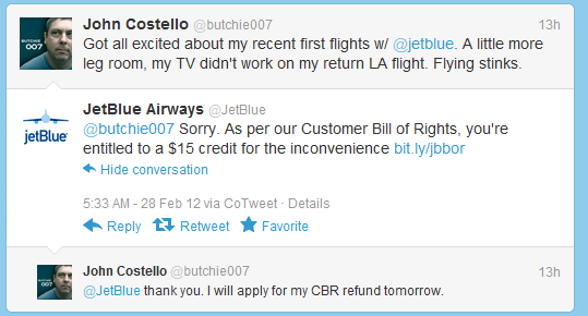 A JetBlue representative responds on Twitter.com