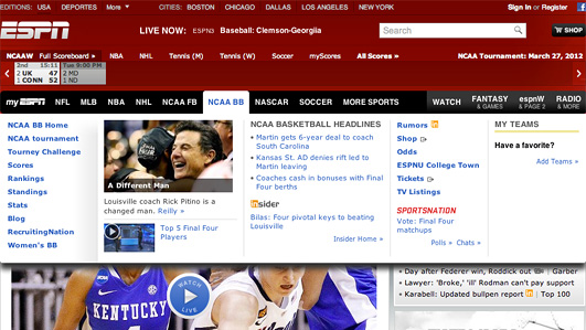 Screenshot of espn.com