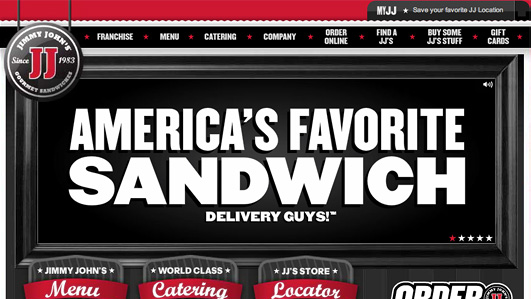 A screenshot of Jimmyjohns.com