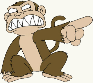 An angry, finger-pointing monkey