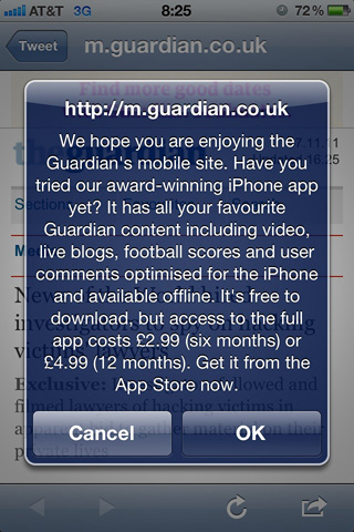 A javascript popup message in iOS 4