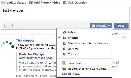 Facebook's new status update panel