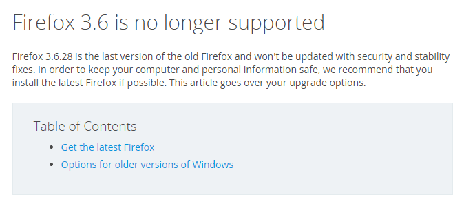 Firefox recommends users upgrade to a newer version.