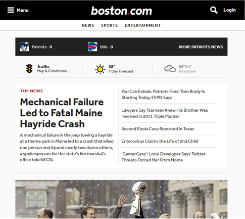 Boston.com is a great example of Web 3.0 styles.