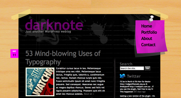 Darknote is a great example of Web 2.0 design.