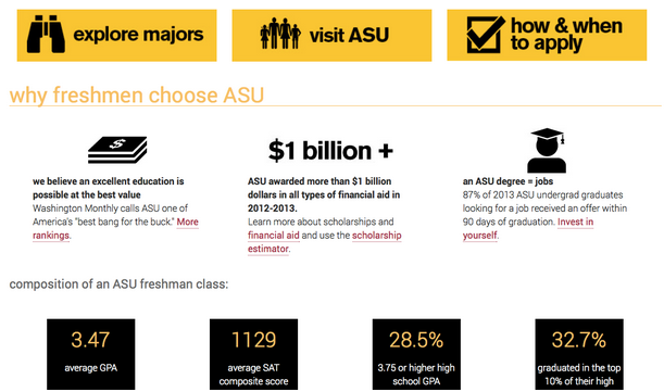 Arizona State University's site.