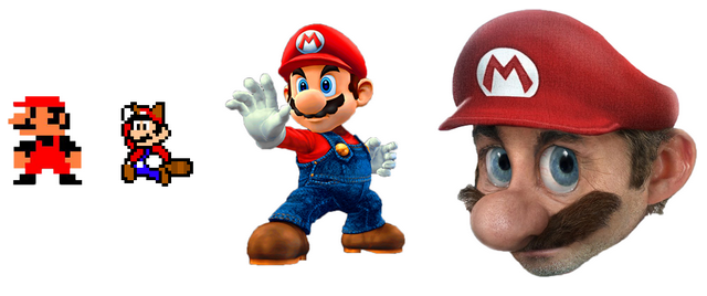 Mario looks more familiar when he's less realistic.
