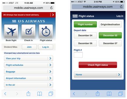The US Airways mobile website.