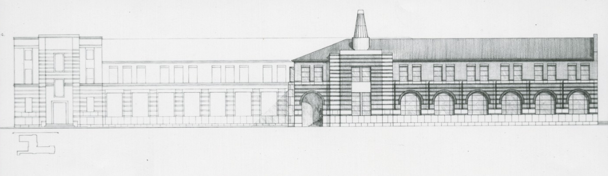 A blueprint of a James Stirling building.