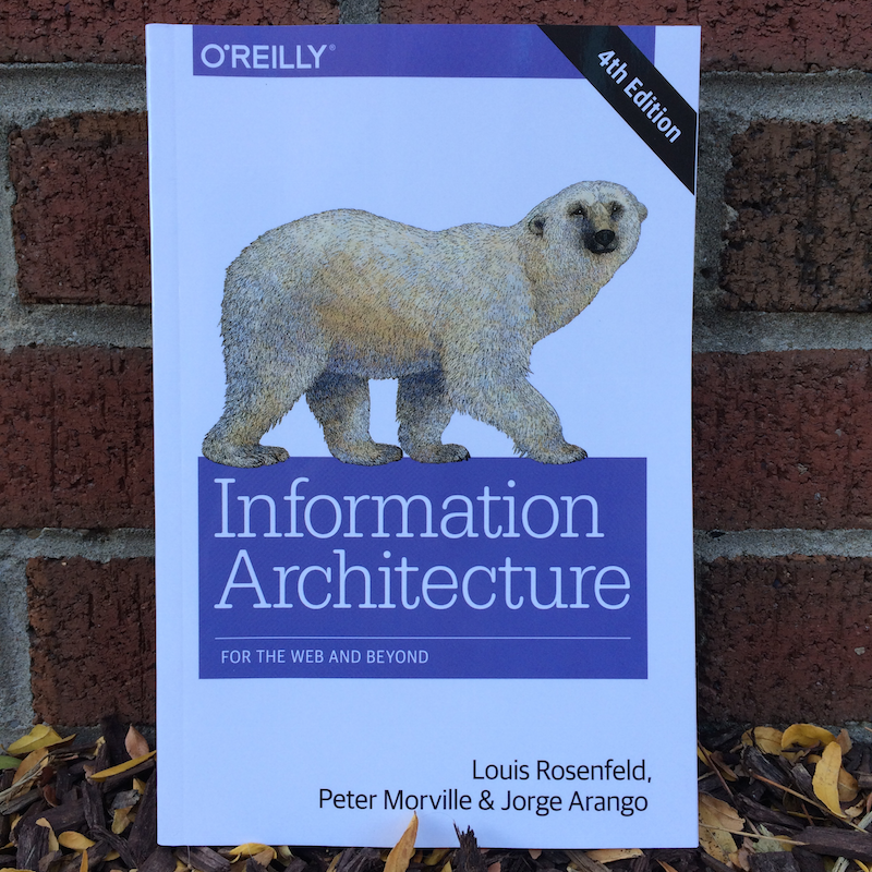 An image of the cover of Information Architecture for the Web and Beyond, with its iconic image of a polar bear.