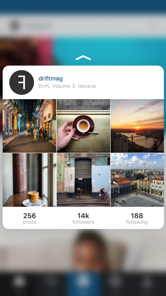 The Peek and Pop action allows users to view an Instagram profile.