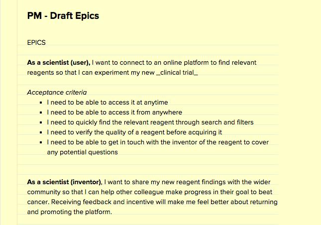 A sample list of design epics.