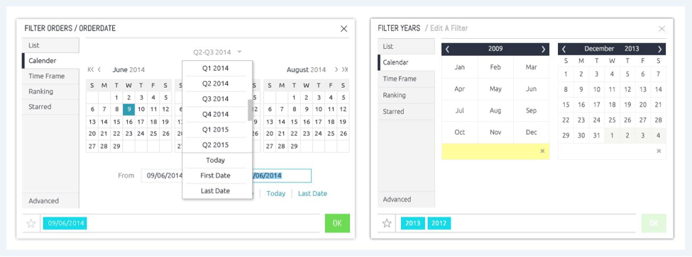 Two images side by side, showing Sisense's calendar view before and after hearing user feedback
