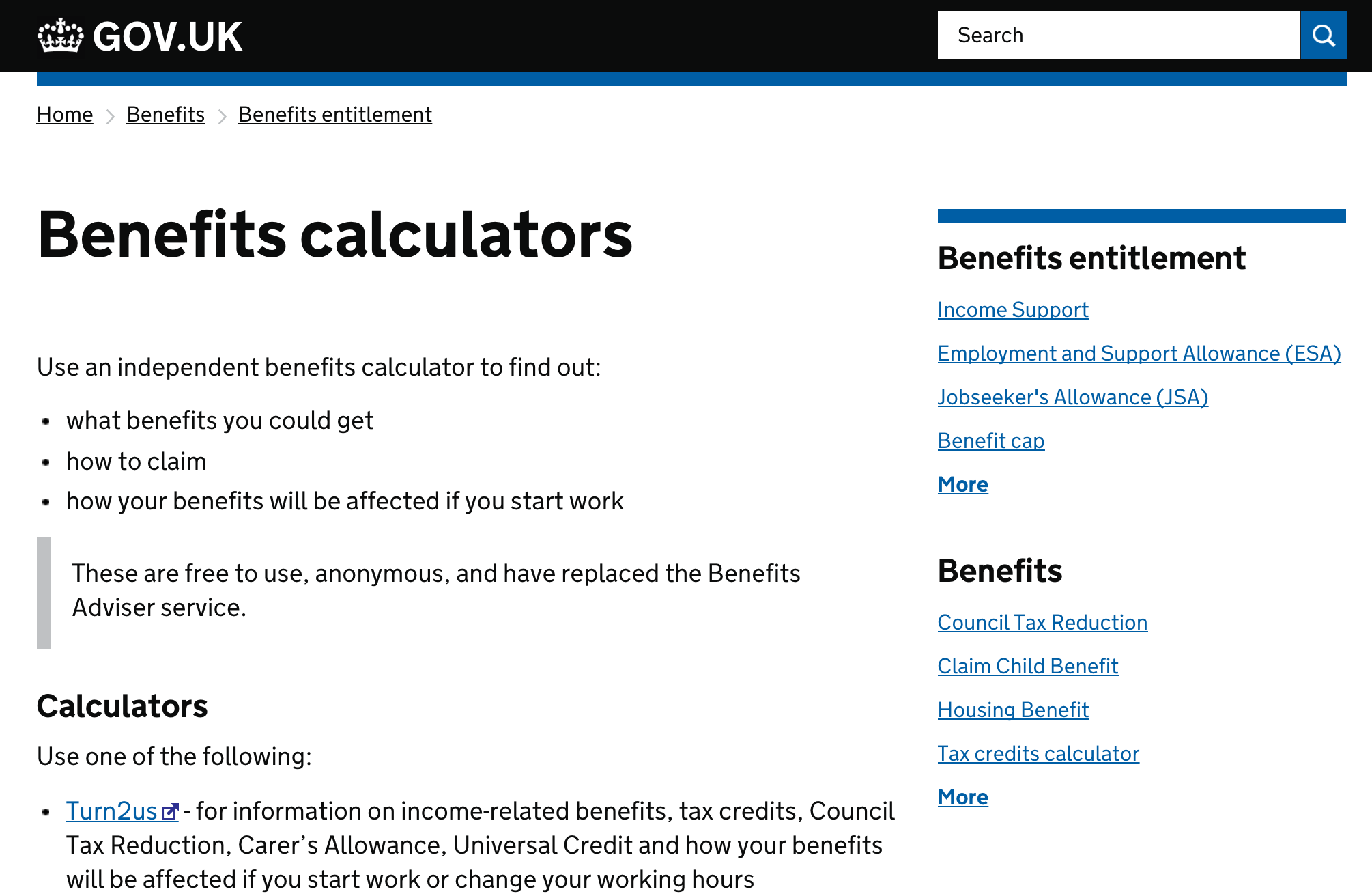 A screenshot of the Benefits Calculator page.