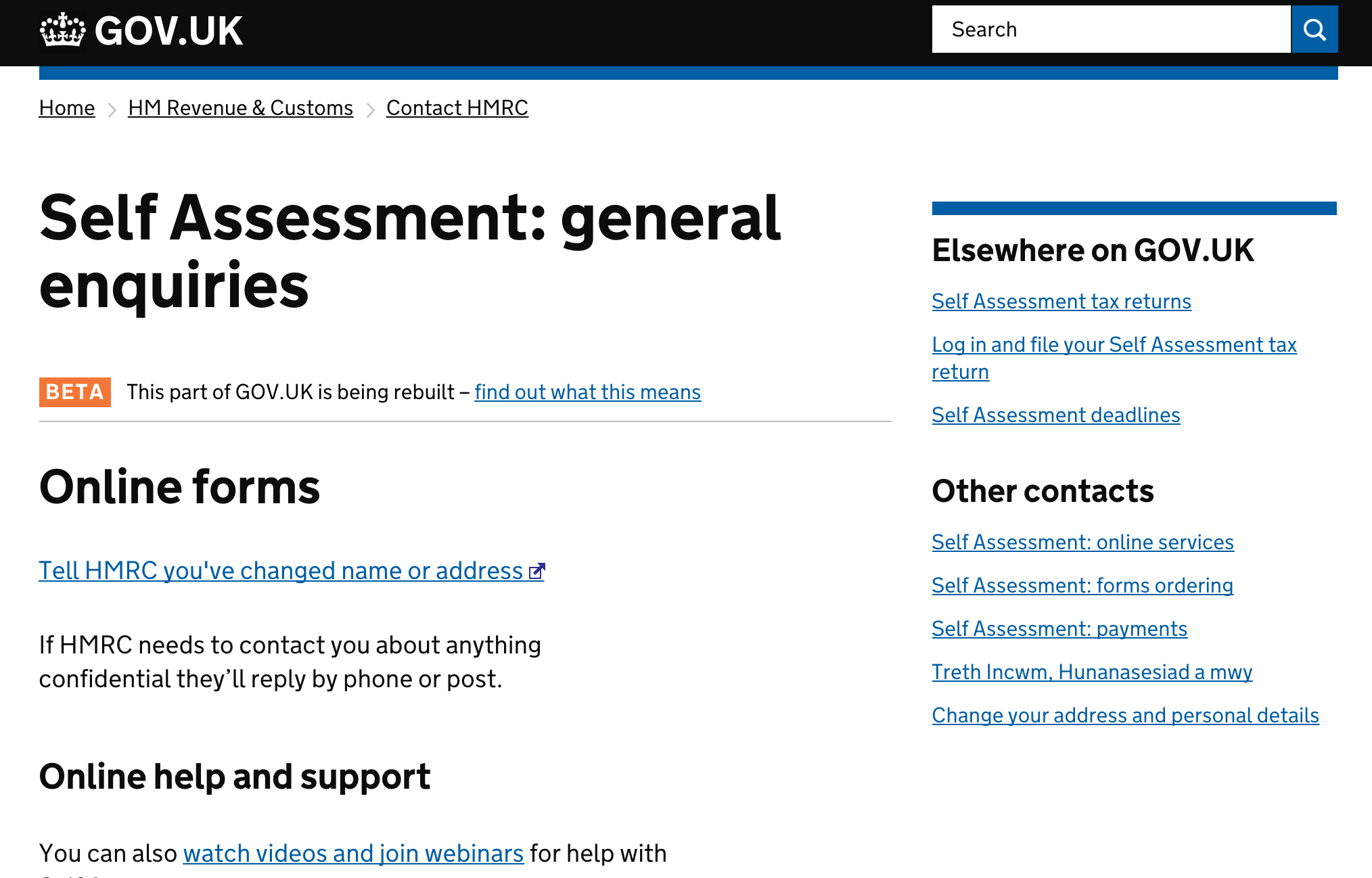 A screenshot of the Gov.UK site Self Assessment page.