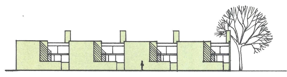 A 3D view of a building from an angle.