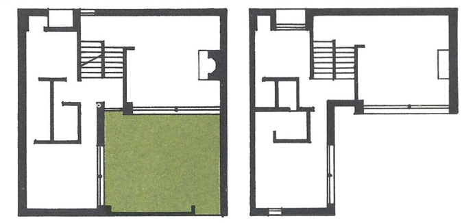 An overhead look at rooms.
