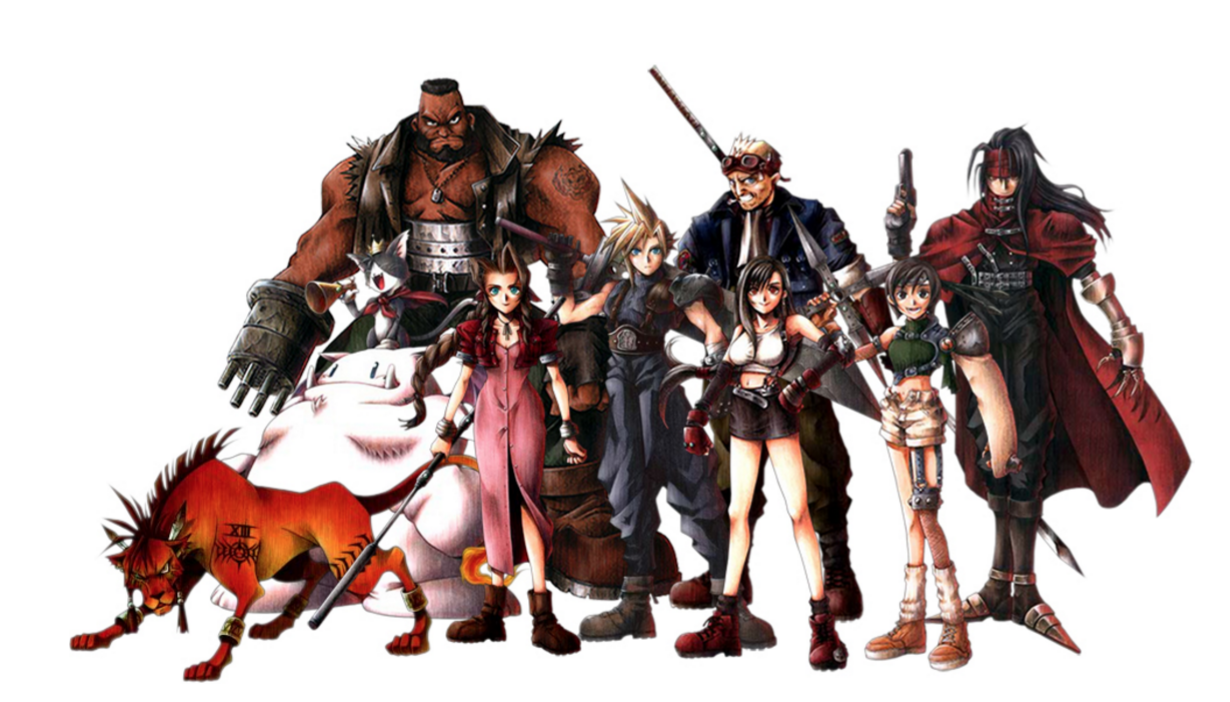 The cast of Final Fantasy VII.