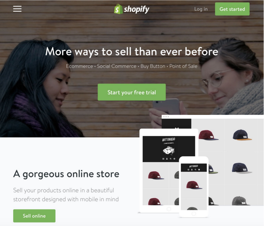 A screenshot of the Shopify homepage.