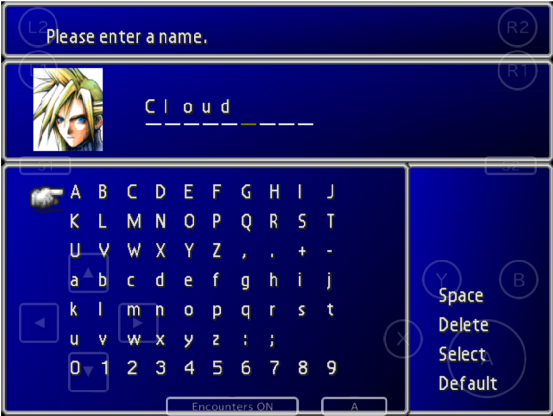 A screenshot of Final Fantasy pre-filling the name selector with the name Cloud.