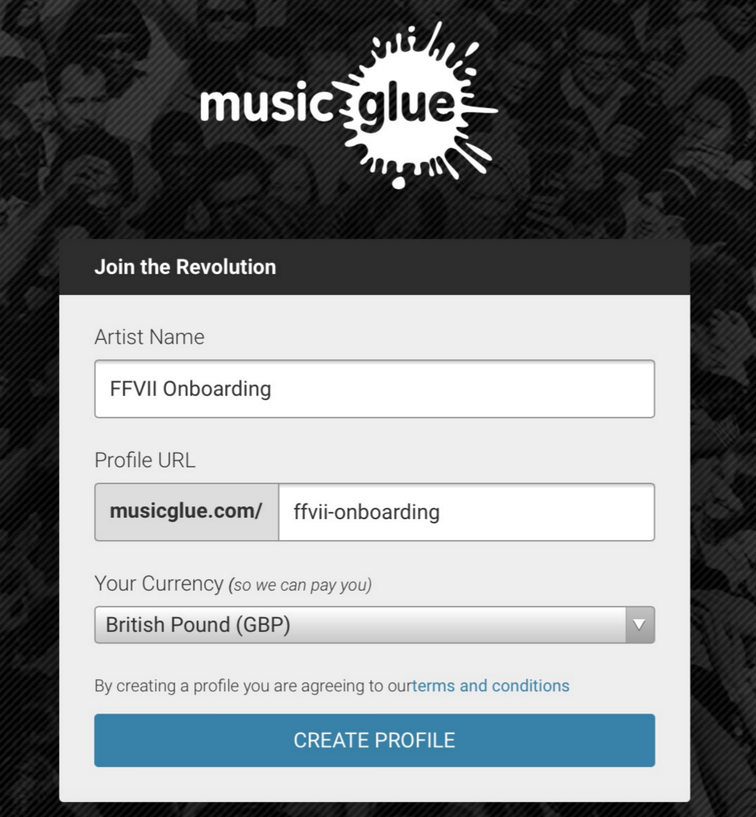 Smart defaults on the Music Glue platform.