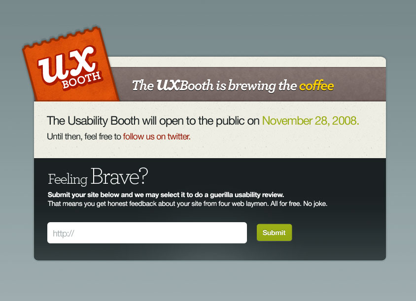 UX Booth's prelaunch sign up page