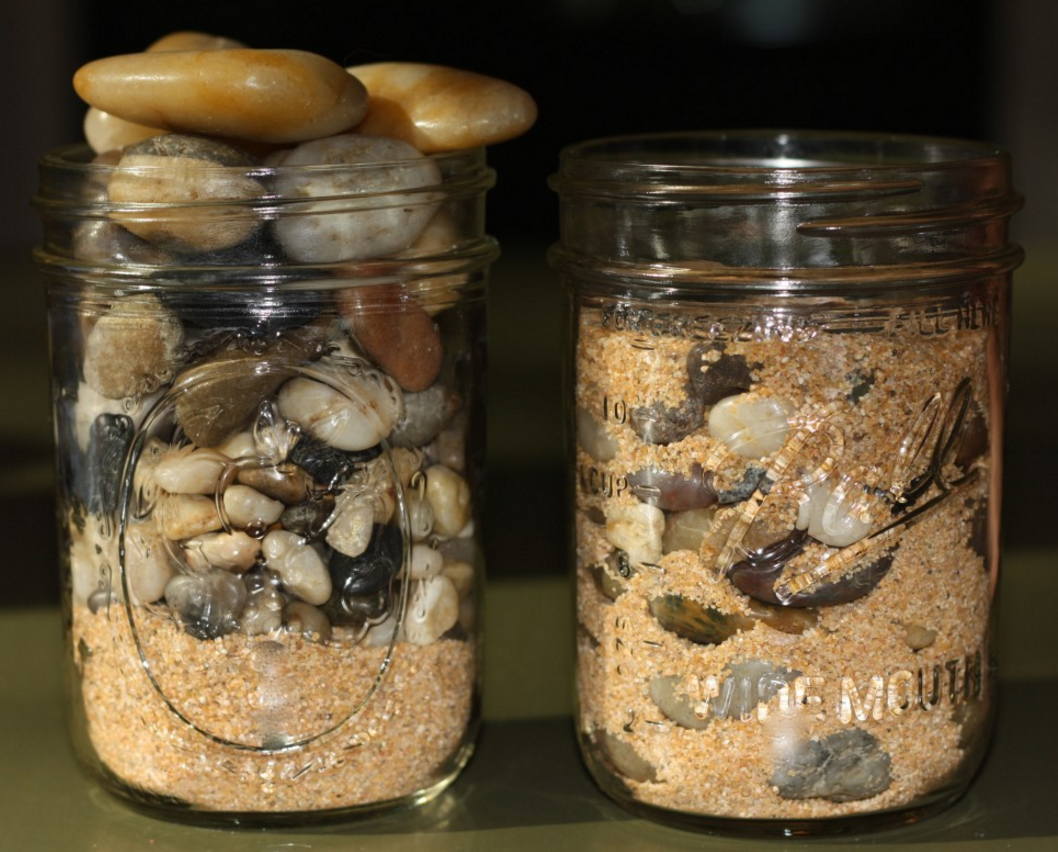 When the sand goes in the jar first, the rocks don't fit.
