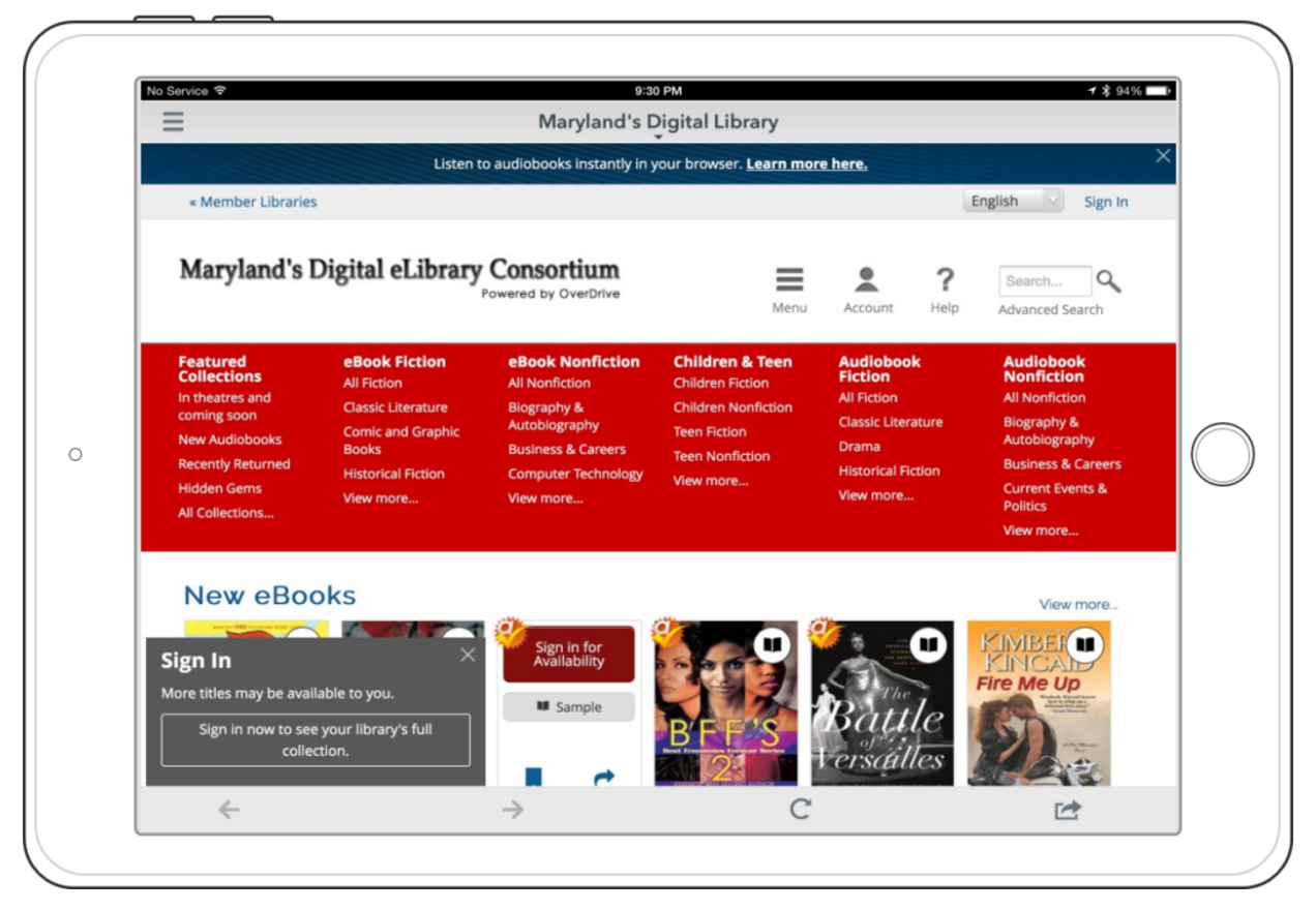 An image of the library app Overdrive.