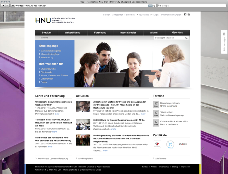 Homepage of the HNU-Website.