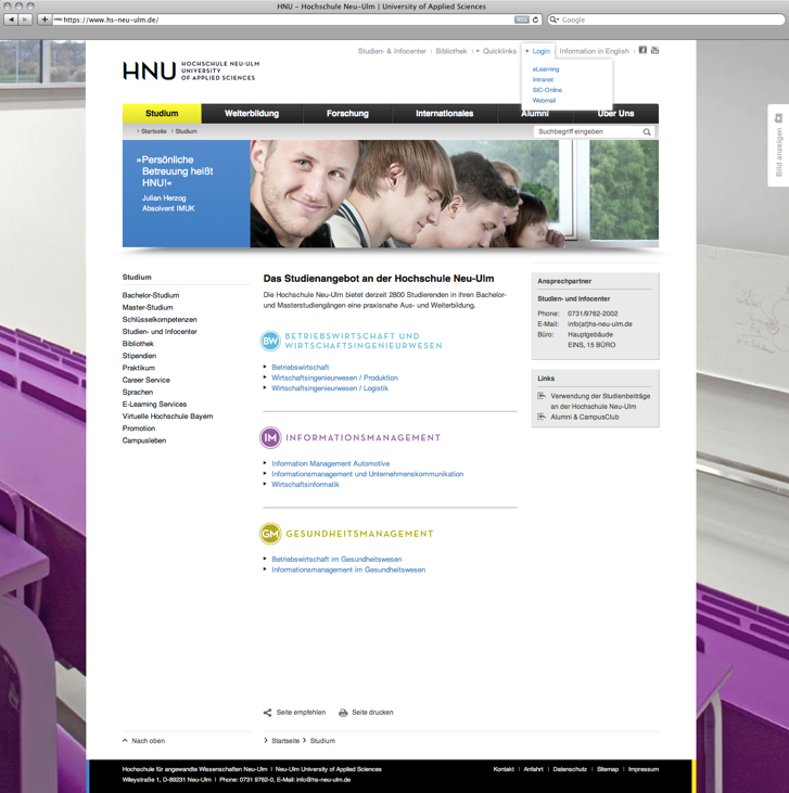 Subpage of the HNU Website