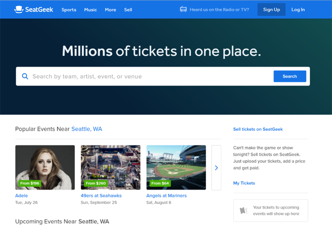 An image of SeatGeek, a complex site with a searchbar front and center.