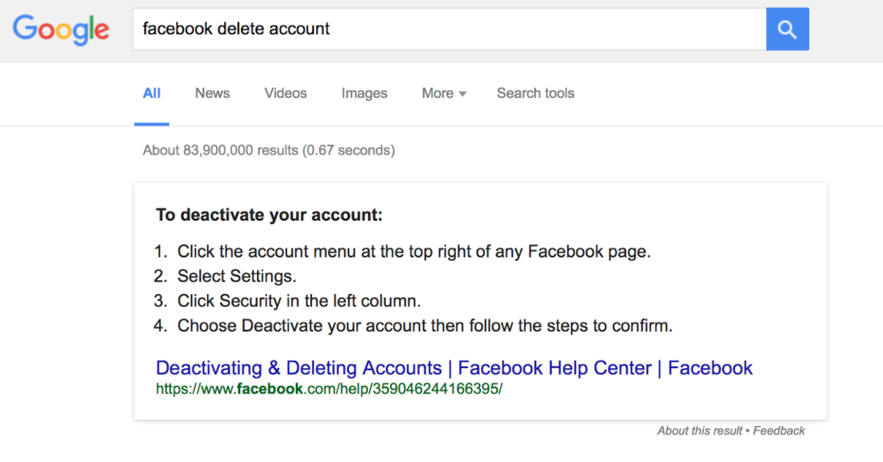 The instructions for deleting a Facebook profile only allow for deactivation.