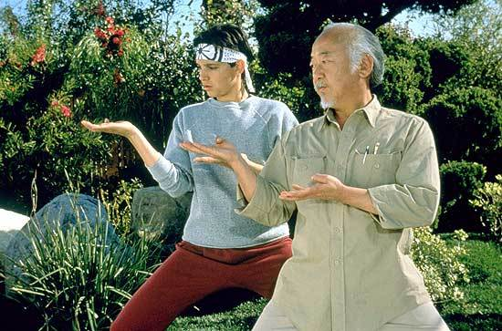 Scene from Karate Kid where they're training.