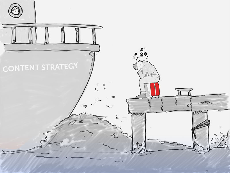 Man missing the content strategy boat, sitting on a dock, feeling like everything's lost.
