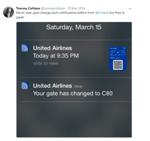 Notification from United Airlines