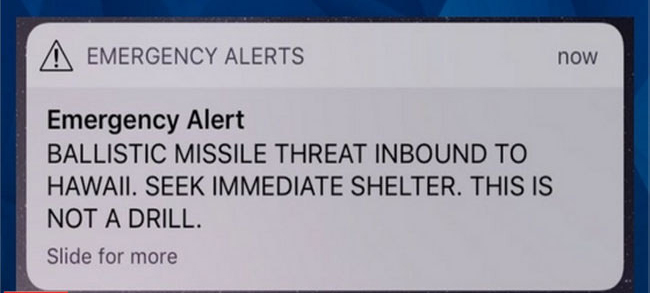 The emergency alert on a phone screen.