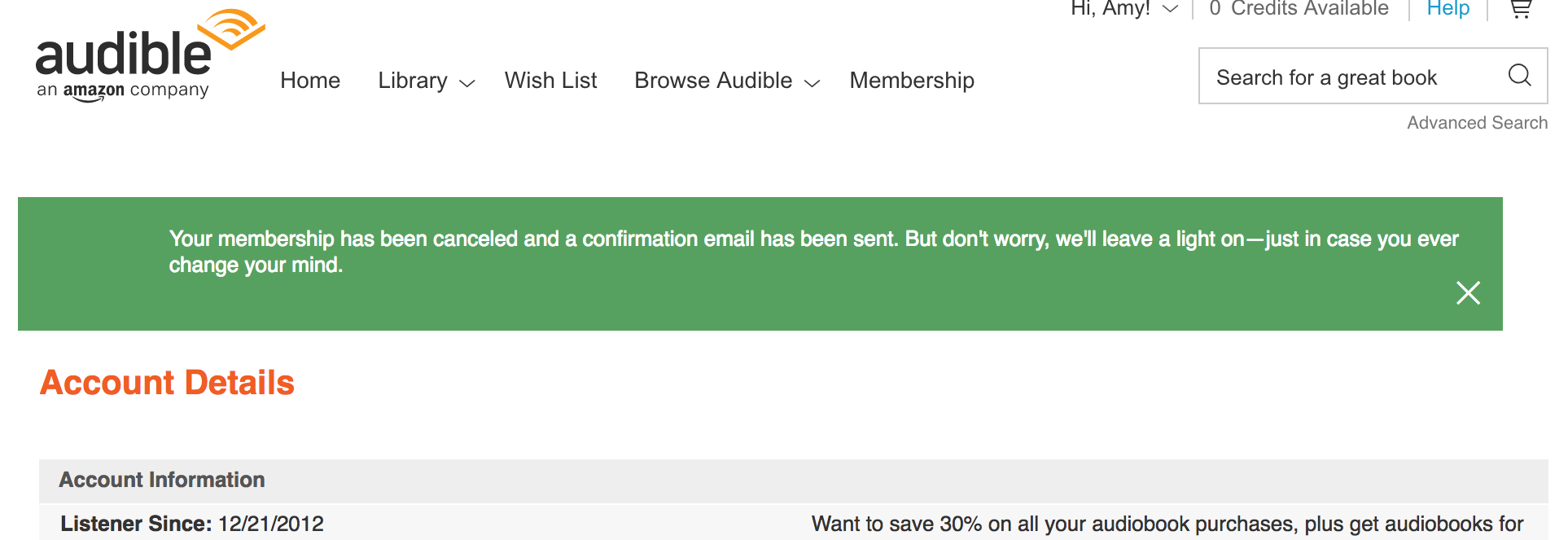 Cancellation confirmation message from Audible