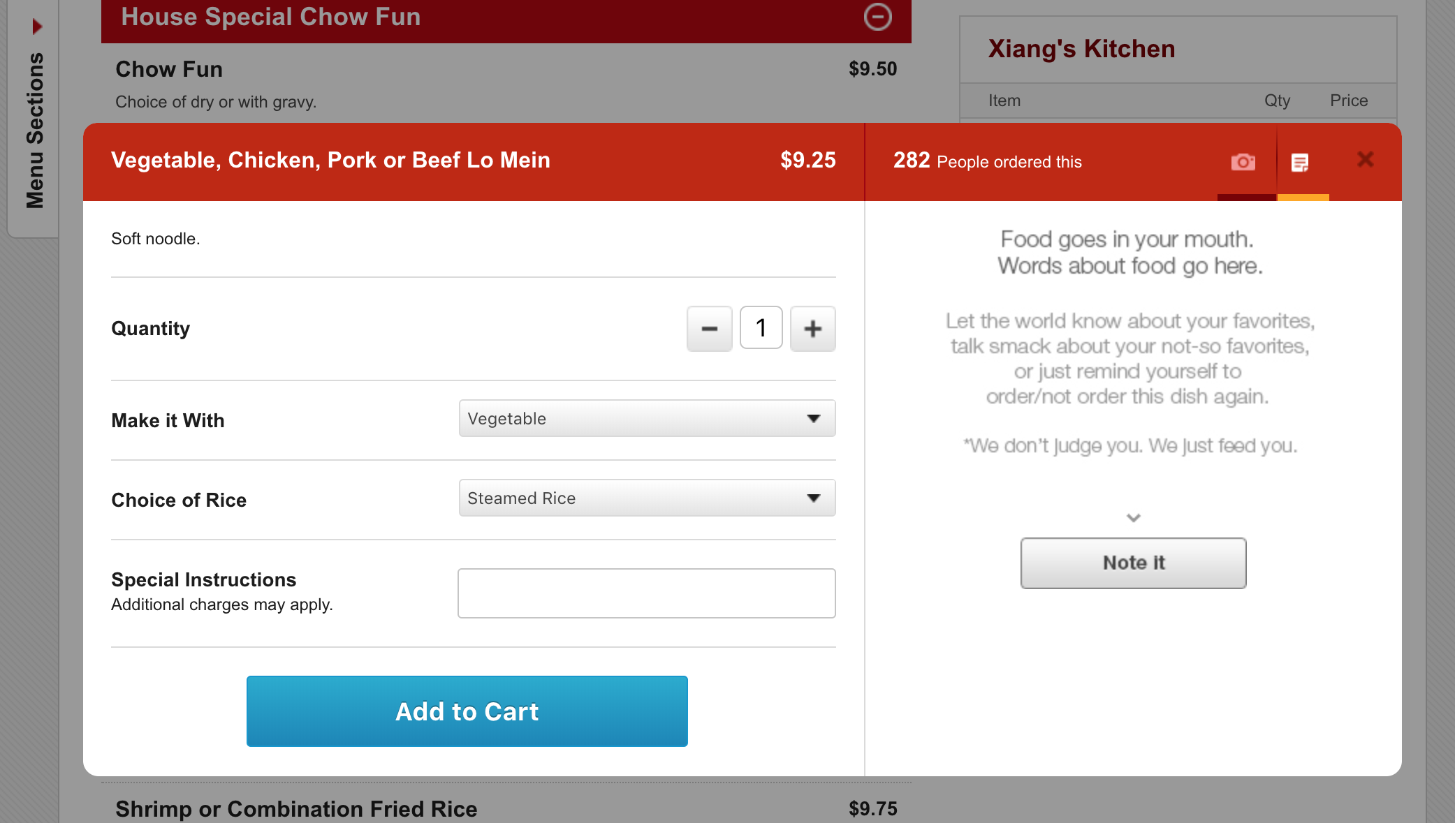 Microcopy on Grubhub's note feature