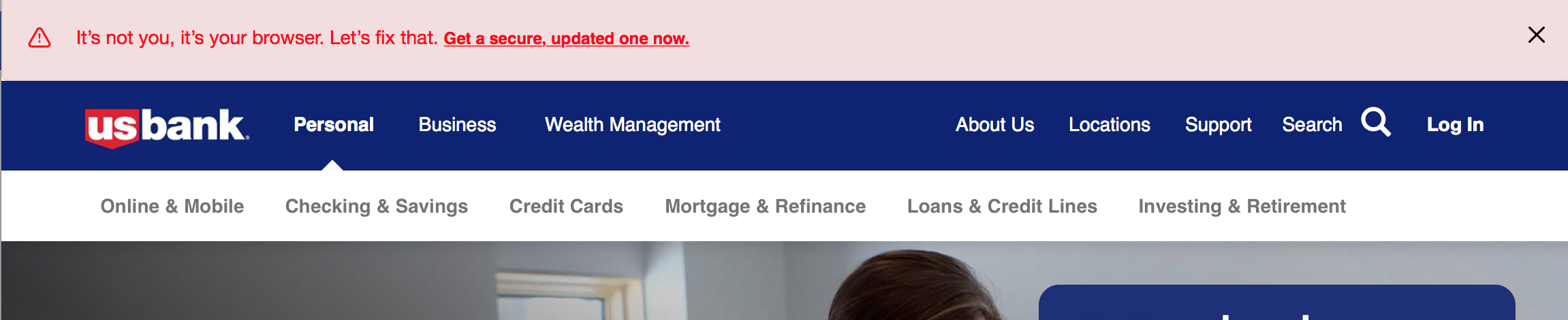 US Bank shows a well-written error message