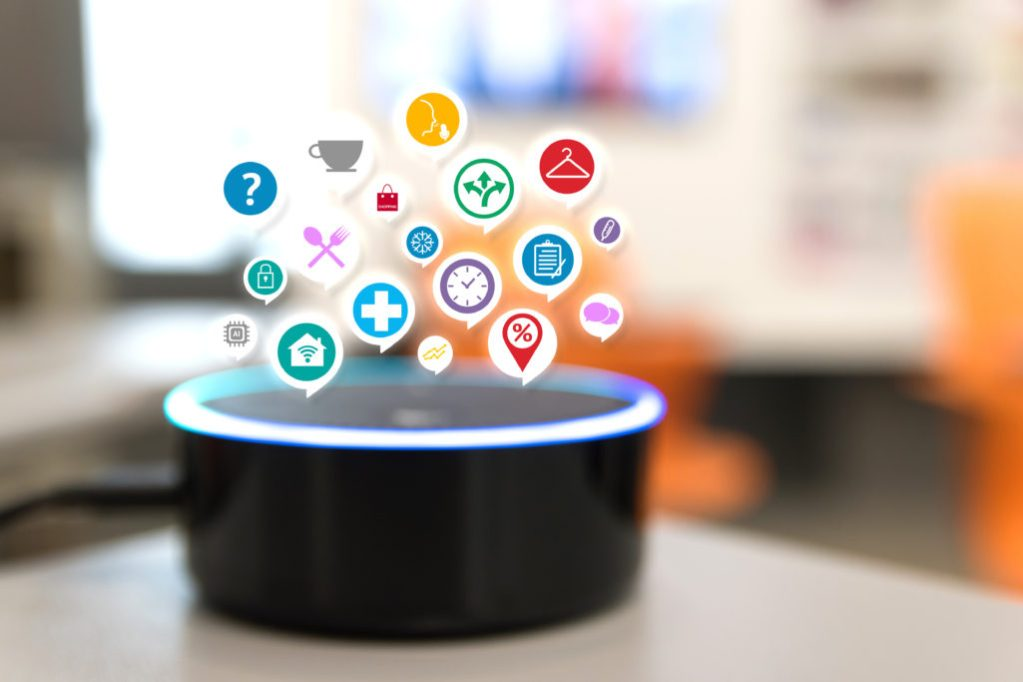 photo of Amazon Echo with graphic representations of apps