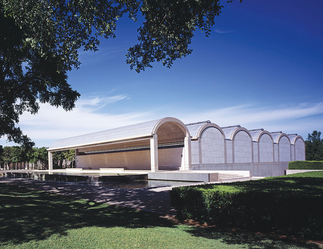 Photo of the Kimbell Museum from the outside showing arched vaults