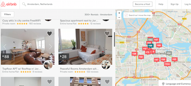 screenshot of airBnB interface